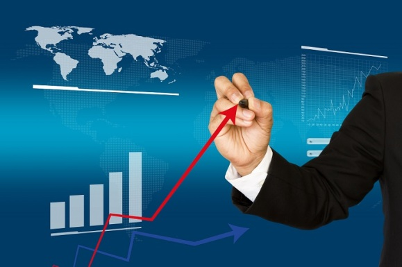 Businessman hand write business graph